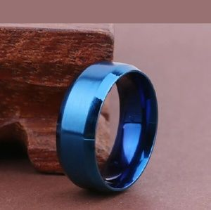 Other - Blue Stainless Steel 8mm Ring/Band